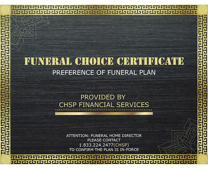 Funeral Certificate Banner